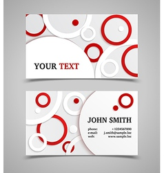 Red and white modern business card template vector image