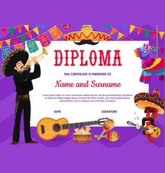 School education diploma with mariachi musician vector