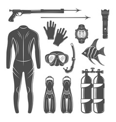 Scuba diving equipment design elements vector
