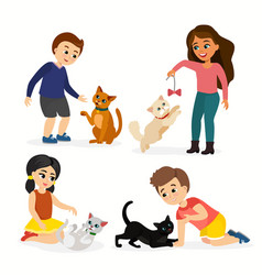 set children and cats vector image