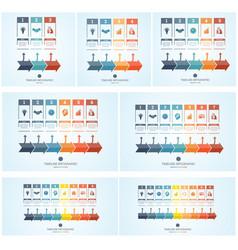 set conceptual business timeline infographic vector image