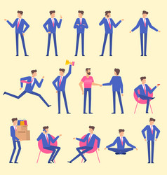 Set flat design man character animation poses vector