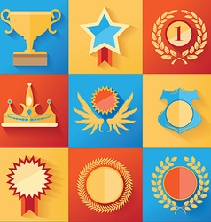 Set of golden award icons vector