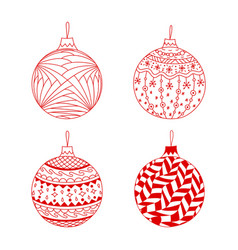 set of red hand drawn christmas ball toy vector image vector image