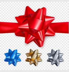 set realistic shiny bows decoration element vector image