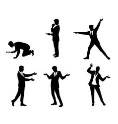 Six businessmen in action vector