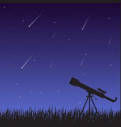 starfall and telescope vector image