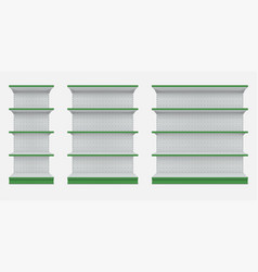 store shelves racks with green edge realistic vector image