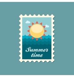 Sun flat stamp summertime vector