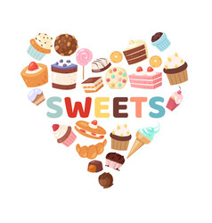 sweets heart with candies vector image