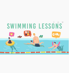 Swimming lessons landing page template coach vector