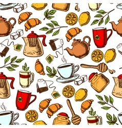 Tea time and desserts seamless background vector