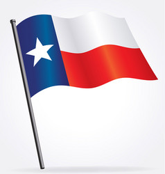 Texas tx state flag waving on flagpole vector