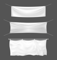 textile banner mockup empty sign banner hanging vector image