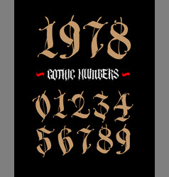 the numbers are in gothic style symbols vector image