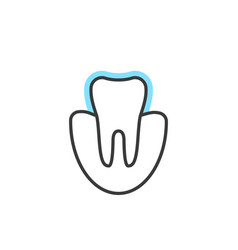 thin line icon of tooth extension or protection vector image