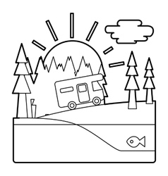 Trip by camper in forest concept outline style vector