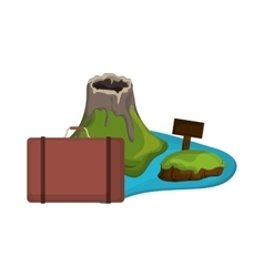 tropical island and suitcase icon vector image vector image