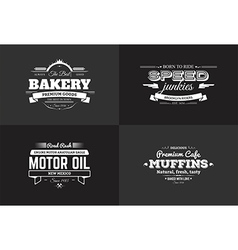 Typography bakery and rider t-shirt design set vector image