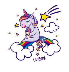 Unicorn sitting on rainbow vector