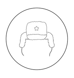 ushanka icon in outline style isolated on white vector image