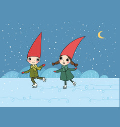 ute cartoon gnomes christmas elves vector image