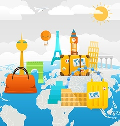 Vacation travelling composition with different vector