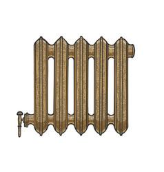 Water heat home radiator sketch vector