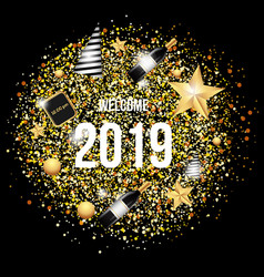 welcome 2019 with gold background template vector image