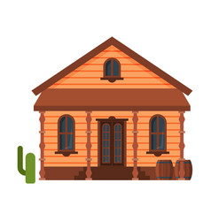 wild west wooden house building western town vector image