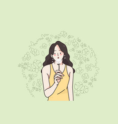 woman and nature on summer concept vector image