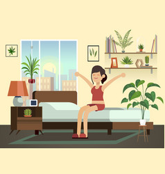 Woman morning happy fun young healthy awakening vector