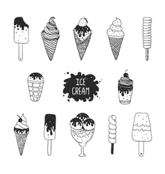 collection of hand drawn ice cream vector image