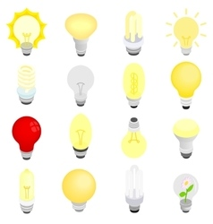 Light bulbs icons isometric 3d style vector image vector image