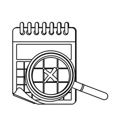 monochrome contour of calendar with spiral and vector image vector image
