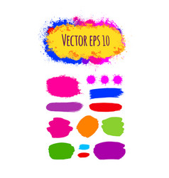 Set of painted grunge banners bright colorful ink vector