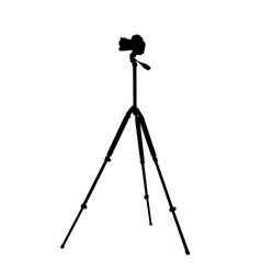 Silhouette of the camera on a tripod vector image
