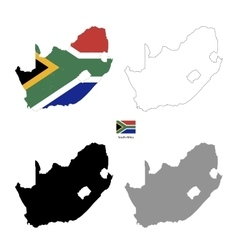 South Africa country black silhouette and with vector image vector image