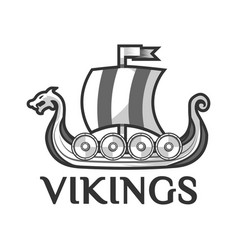 viking warship boat with drakkar or drekar vector image