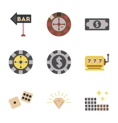 assembly flat icons poker game vector image