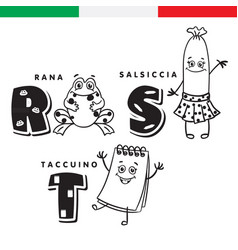 italian alphabet frog sausage notepad vector image