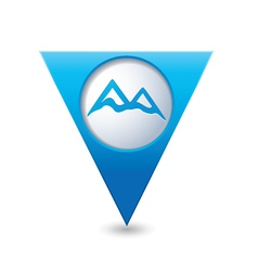 Mountain icon on blue triangular map pointer vector