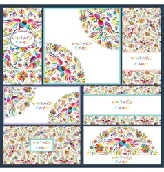 Set business cards with Floral Mexican pattern vector image vector image