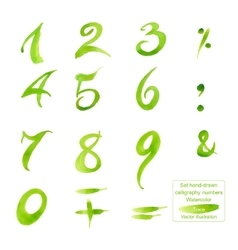 Set hand-drawn calligraphy numbers and symbols vector image vector image