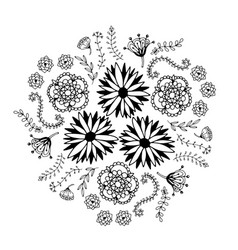 abstract floral circle with doodle flowers round vector image vector image