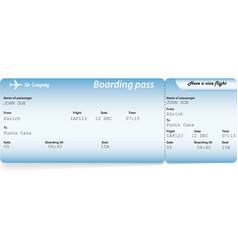 Blue airline boarding pass tickets vector