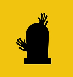 Headstone and zombie hands silhouette vector