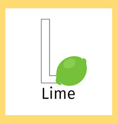 lime and letter l coloring page vector image