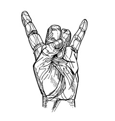 rock and roll hand sign vector image vector image