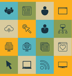 set of 16 online connection icons includes pc vector image vector image